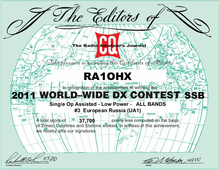 RA1OHX CQWW 2011 SSB certificate