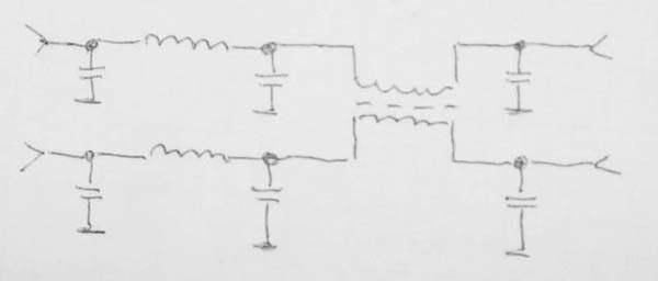 Для ослабления сетевых помех рекомендуется данный фильтр.  Входные емкости по 6800, остальные по 10000 пф.
