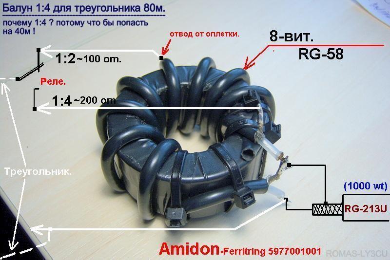 ВЧ трансформатор 1:4 - radioscanner.ru